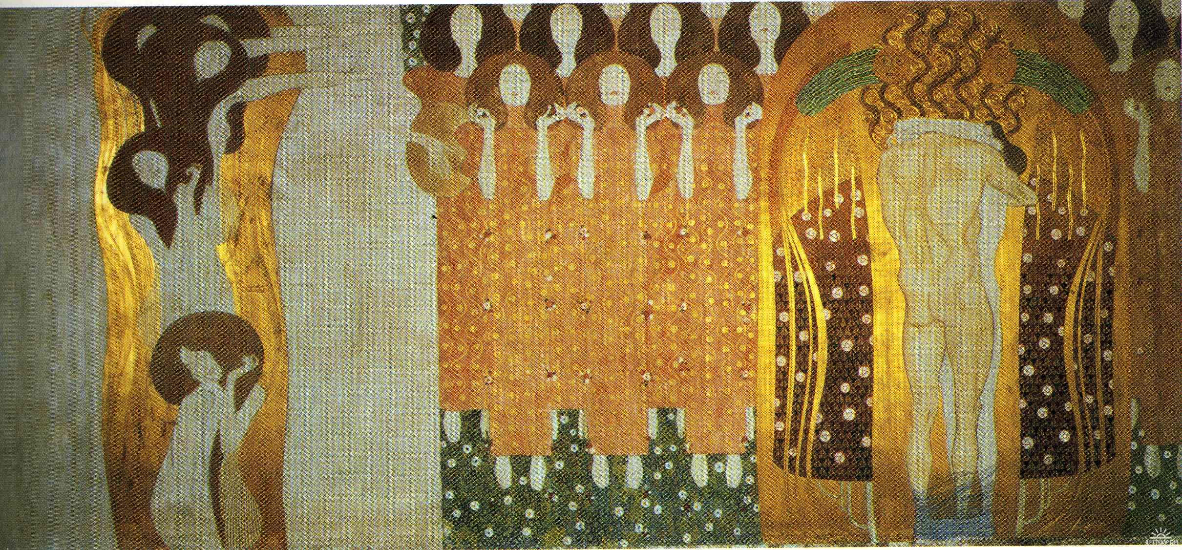 Gustav Klimt - The Beethoven Frieze. The Longing for Happiness Finds Repose in Poetry. Right wall 1902