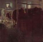 Cows in the barn 1900